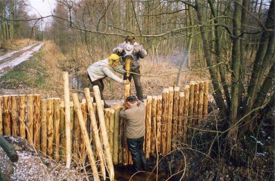 Bau eines Staus im Rahmen der Renaturierung 1998 (Bild © Schabow/Stadt Ribnitz-Damgarten)