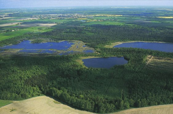 Blick von Süden auf den Kleinen und den Großen Teufelssee, links und rechts ehemalige Torfstiche (Bild mit freundlicher Genehmigung (c) Demmler Verlag)
