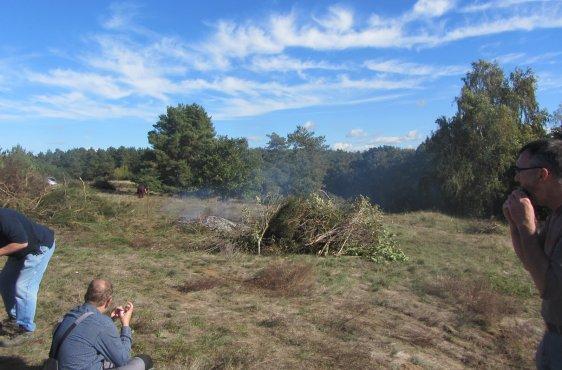 zentrale Feuerstelle, auf der das Schnittgut verbrannt wurde